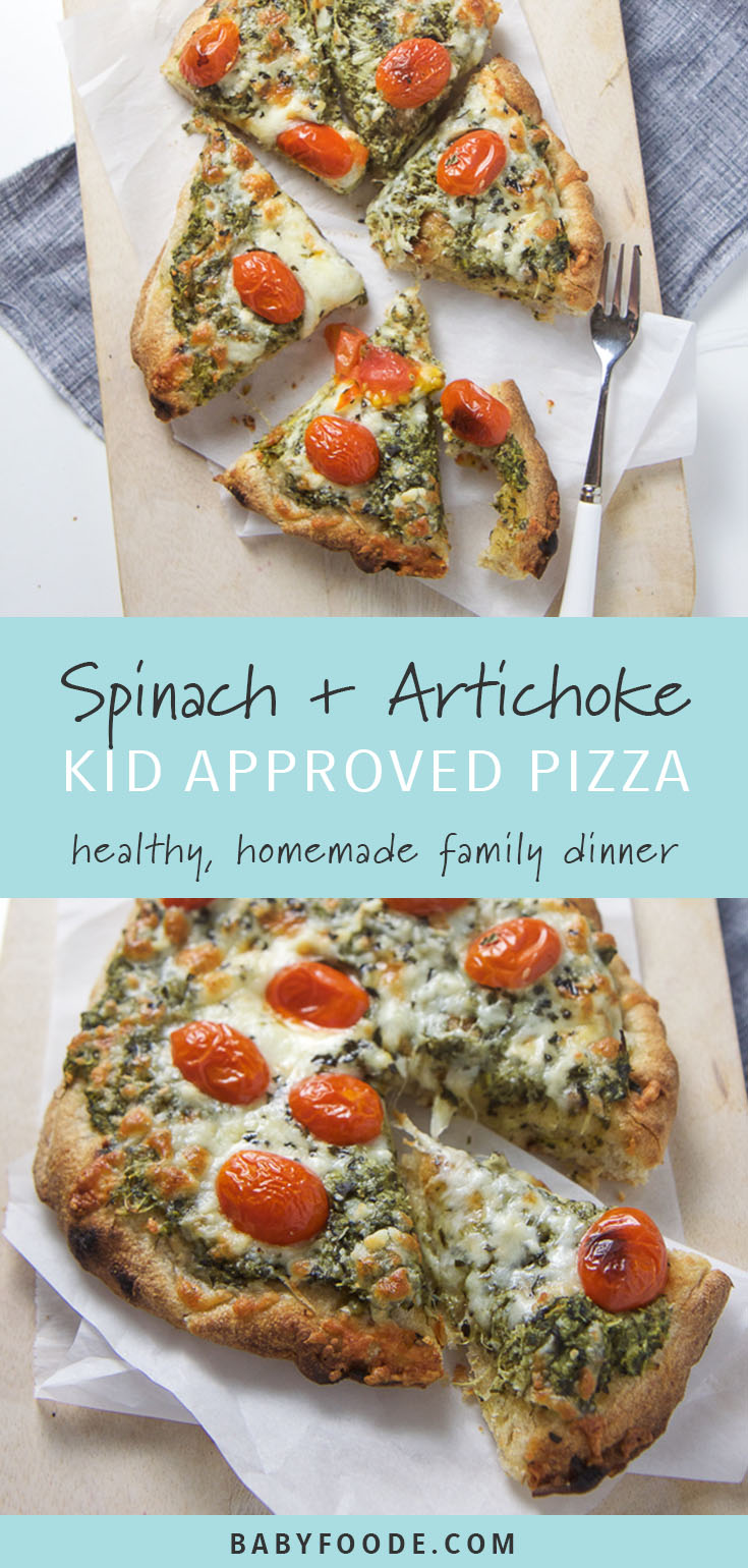 This healthy Spinach and Artichoke Pizza is the perfect easy weeknigh dinner - full of iron rich spinach, antioxidant loaded artichokes, and vibrant cherry tomatoes, this pizza is loaded with nutrients. But don't worry, it has just enough cheese that the kiddos won't even notice all of the super healthy ingredients!! #pizza #dinner