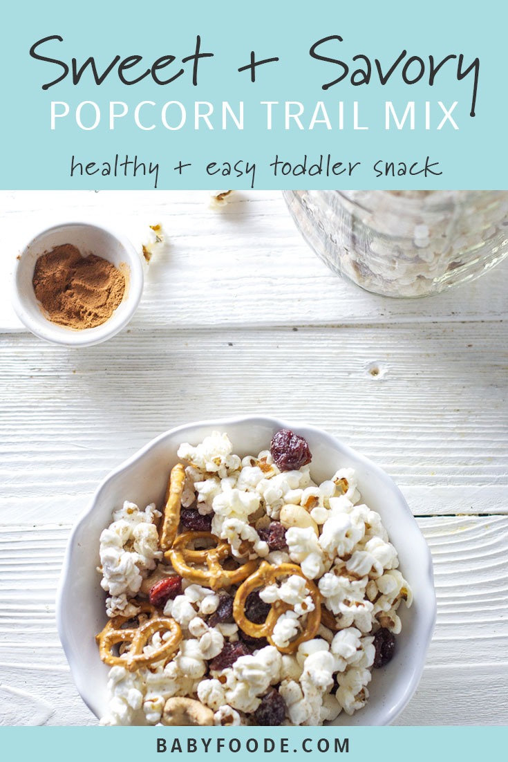 This snack has it all and can easily cross off all of my snack mix requirements for an amazing afternoon or late night treat - crunchy, salty, sweet, savory, and super easy. It's perfect for your toddler, and your big kid, and YOU! Pack into school lunch, toss into your tote for an on the go treat, or pull it out for movie night. This sweet and savory popcorn trail mix is snack perfection! #snacks #healthyrecipes