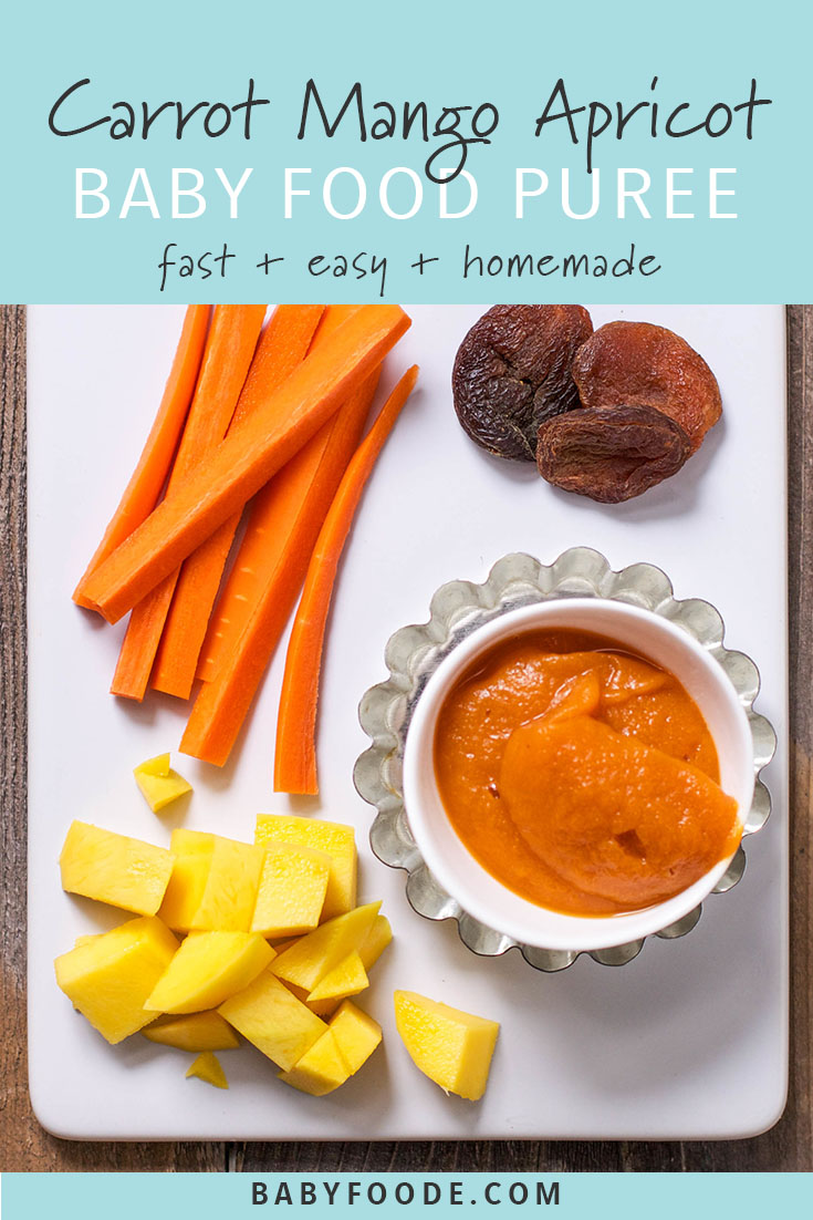 Celebrate Halloween and fall with this bright orange baby food puree made with carrots, mangos and dried apricots. All of the orange produce provides your little pumpkin with a big dose of beta-carotene. This easy homemade puree will be devoured by your little one. #babyfood #stageone