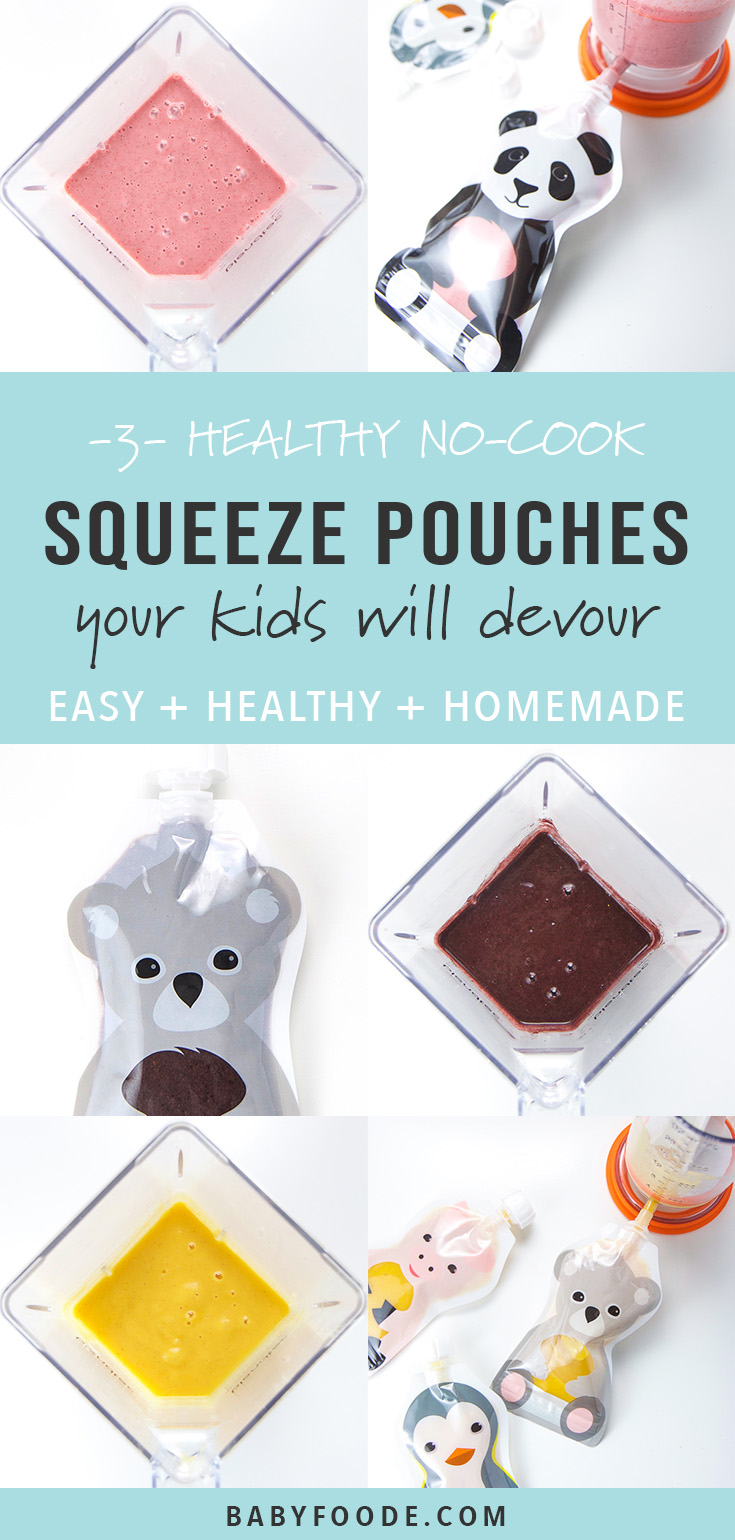 These 3 No-Cook Toddler Squeeze Pouches are a great and easy way to have a healthy snack or light meal for your baby or toddler in no time. The best part, your toddler (even picky eaters) will be devouring these pouches within minutes! #toddler #snack