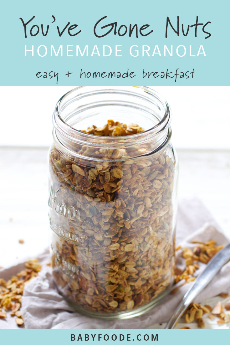 This nutty granola is a breakfast winner! If you love granola but don't love all the preservatives and sugar, you won't believe how easy it is to make your own at home. Customize to your preference with nuts and seeds that you love. It's the perfect breakfast served with milk or yogurt, or a nice little afternoon snack. #granola #breakfast