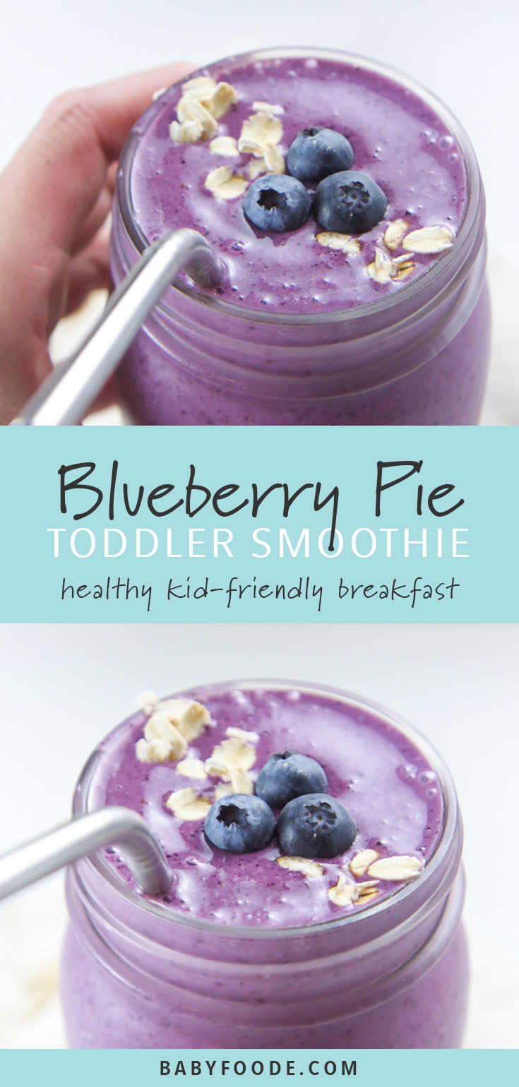 This Blueberry Pie Smoothie recipe tastes just like your favorite summer dessert but is full of healthy proteins, fiber, antioxidants, omega-3 fatty acids and probiotics for a delicious and nutritious breakfast for the entire family! #smoothie #kidfriendly