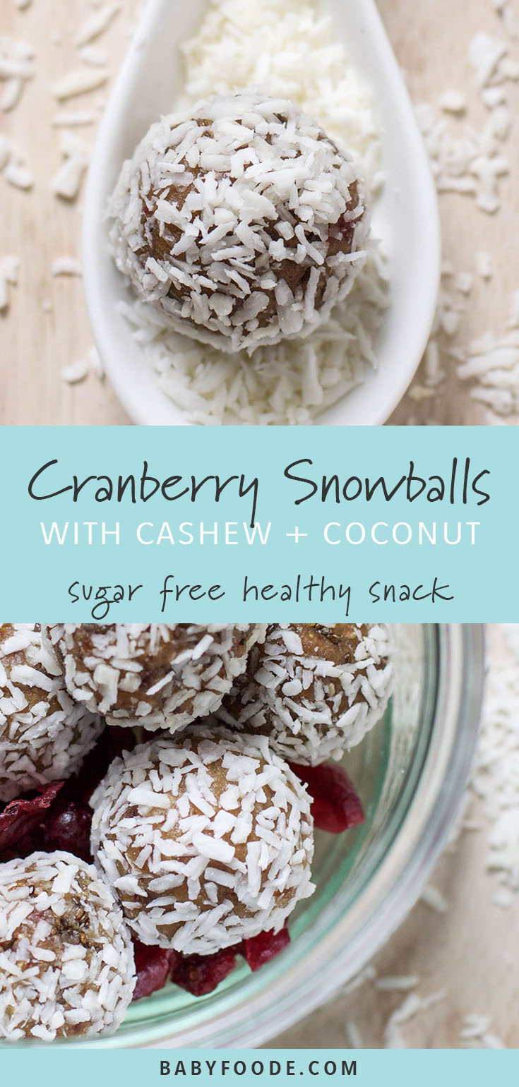 These cranberry snowballs are a healthy holiday snack that will keep both big and little tummies happy.This snack comes together quickly, so make a batch to keep for those moments you or kids need a sweet holiday pick-me-up that's sugar free, gluten free, and dairy free too! #sugarfree #glutenfree