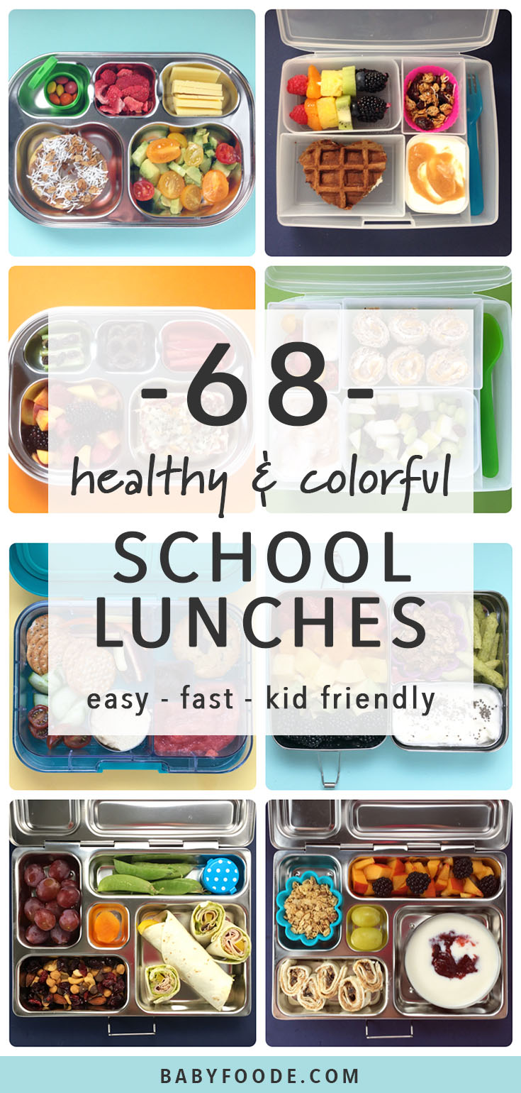 Packing a healthy, fun, colorful lunch your kids will devour just got a whole lot easier! Check out these 68 Healthy School Lunch ideas for your toddler or school aged child. Most of these lunches took just 5 minutes to pack, and they are sure to keep your kiddos feeling full and energized all day long! #schoollunch #healthy