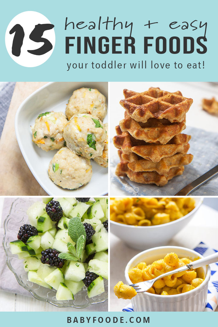 These 15 Healthy Finger Foods for Toddlers will make feeding your active toddler a snap. These homemade toddler recipes are easy, delicious, healthy and super fun to eat! Whether you're looking for ideas for baby led weaning, toddler snacks, or easy kid-friendly meals, these healthy finger foods will give you plenty of options! #babyledweaning #toddlers