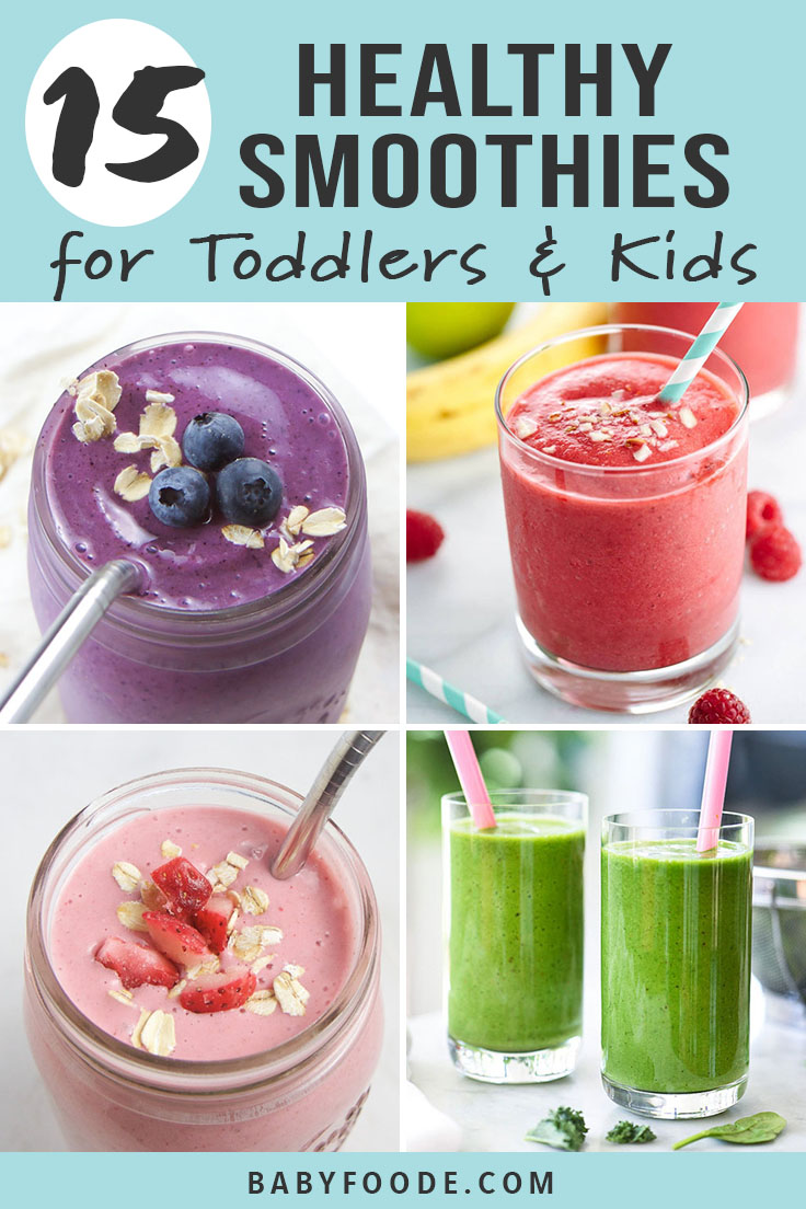 Smoothies are the BEST way to get more fruits and vegetables into your picky eater's diet! Smoothies are easy, fast, and delicious, and I've got 15 kid friendly recipes for you to try for breakfast, snacks, and on the go treats! These healthy smoothie recipes are great for your toddlers, kids, and baby led weaning babies. #smoothies #healthyrecipes