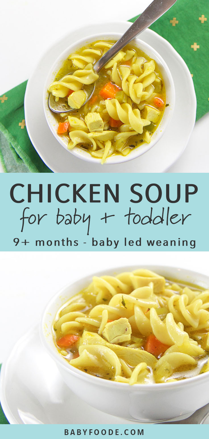 This quick and easy Chicken Noodle Soup recipe is a simple and comforting meal for any baby or toddler! It's perfect as a finger food or for baby led weaning for babies aged 9 months and up, plus it's filling and nourishing enough for kids and toddlers too. This healthy kid-friendly chicken soup recipe for kids is ready in just 15 minutes, so it's great for lunch or busy weeknight dinners! #soup #babyledweaning