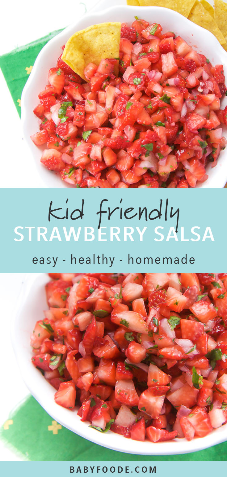 This fast and easy five ingredient Strawberry Salsa will be a huge hit for all of your summer parties! Pack it for picnics and potlucks, and have some stashed in the fridge for a refreshing snack or dinner side dish. Kids, toddlers, and adults alike will love this sweet and refreshing summer salsa. #healthysnacks #kidfriendly