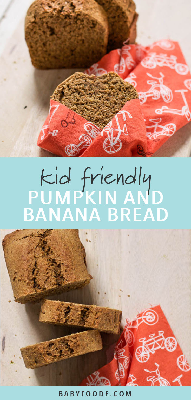 This recipe for pumpkin and banana bread is a simple but comforting recipe. With whole wheat flour, just a little bit of brown sugar, pumpkin, banana, and warming spices, it's a healthy and easy snack or breakfast that your toddler will love and you'll feel great about serving. #healthybaking #snacks
