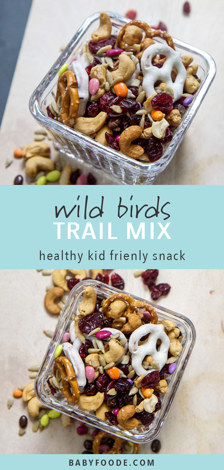 This fun trail mix for your kiddo has it all - pretzels, dried cranberries, yogurt covered pretzels, cashews, sunflower seeds and best of all chocolate sunflower seeds! It's the perfect mixture of salty, sweet, fruity and crunchy, and is a winning healthy combination for school lunches, after school snacks, travel snacks, and more! #snacks #schoollunch