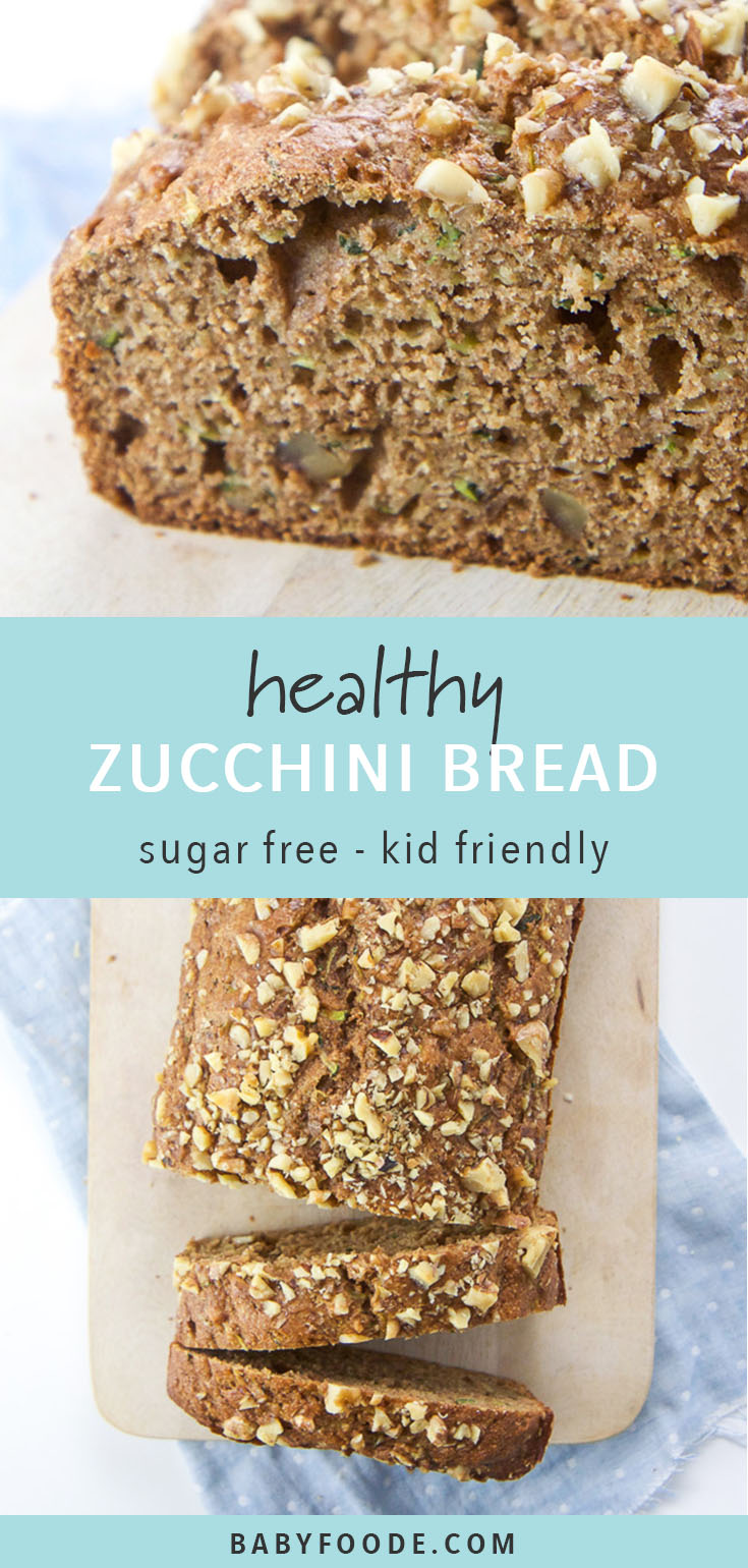 This Healthy Zucchini Bread is made with whole wheat flour, agave nectar, applesauce, olive oil, a good amount of zucchini and warm spices. It's a delicious and nutritious bread recipe that's sugar free, full of healthy fats and vitamins, and both toddler and mom approved! Grab your little one for a healthy baking session and make this zucchini bread recipe together today! #healthybaking #healthysnacks