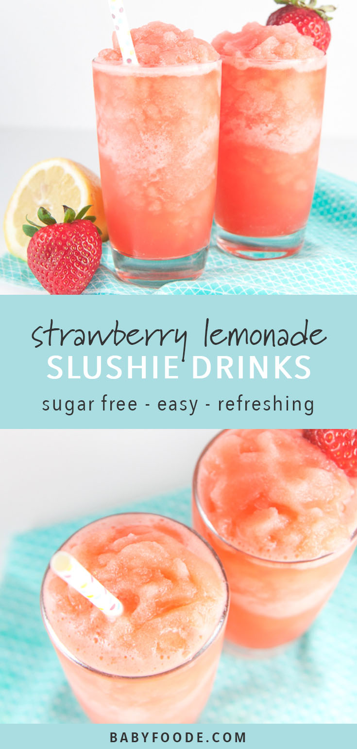These Strawberry Lemonade Slushies for Toddlers + Kids are a refreshing summer drink that the entire family will enjoy! Made with 5 simple ingredients - lemons, strawberries, honey, ice and water, these slushies will become your new favorite summer drink. #sugarfree #healthydrinks