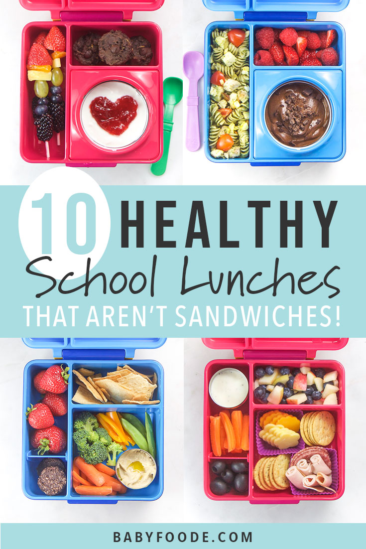 My kids love these fun and healthy school lunches packed in a bento box - and I love how easy they are to make! This post is packed with our go-to healthy, colorful and easy lunch recipes for back to school. You'll find tons of inspiration for bento box lunches that aren't sandiwches! Click now and make your school lunch routine a snap! #schoollunch #bentobox