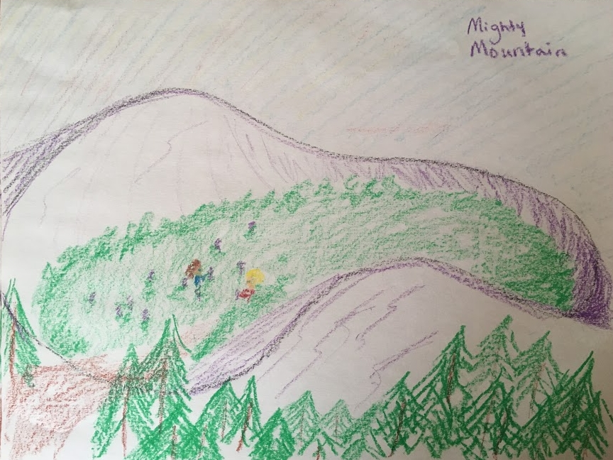 On day two, I asked Isaac what he remembered from the story and we drew again. This is my picture of the children collecting the medicinal plants.