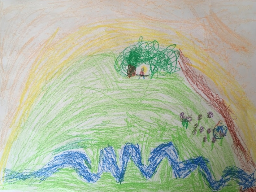 Isaac's drawing of Adam at the top of the mountain, Sarah picking berries; he included the path, stream and sunrise.