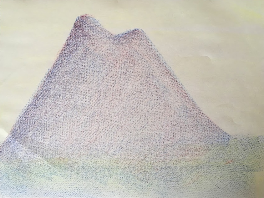 Day three art lesson: coloring Mighty Mountain with block crayons