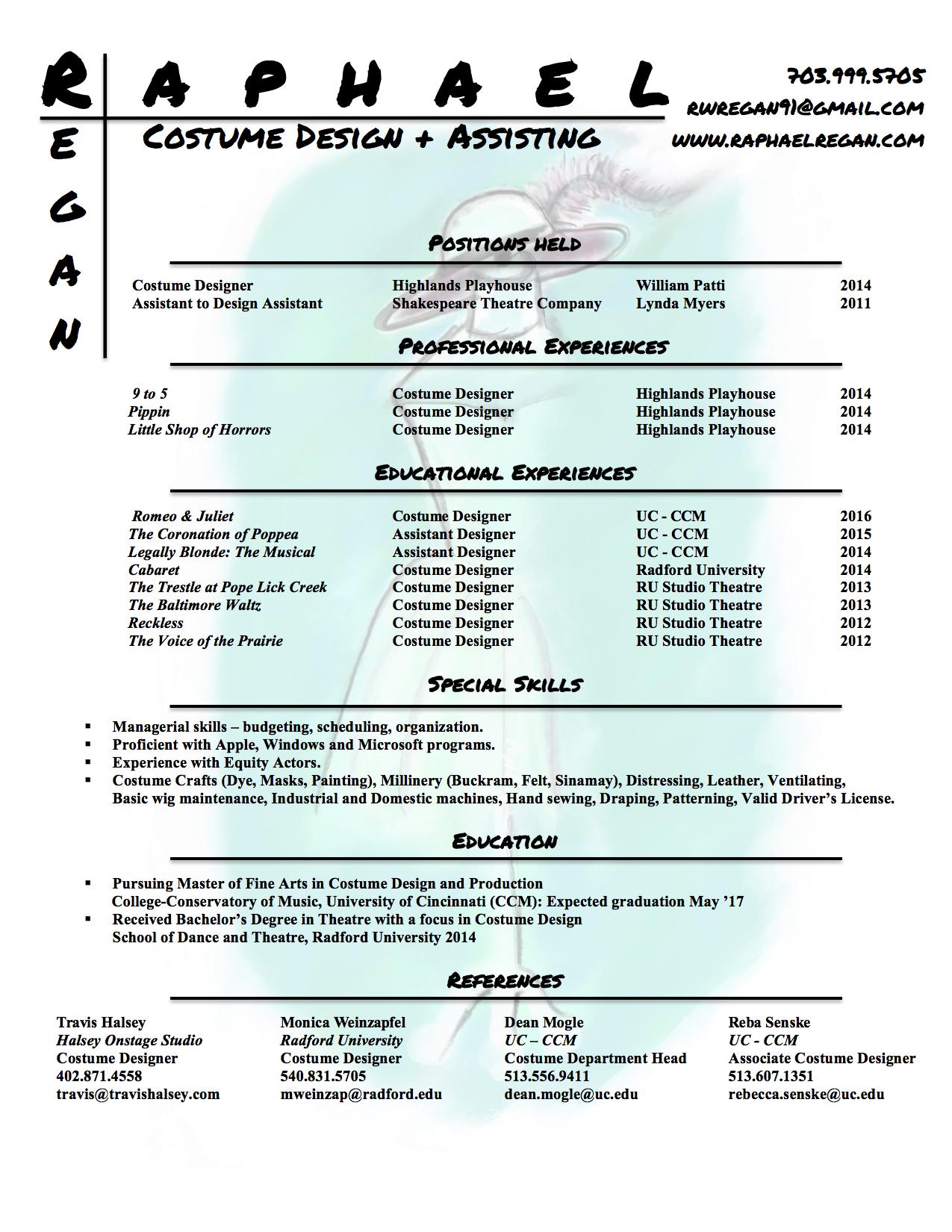 resume raphael regan costume design assisting resume