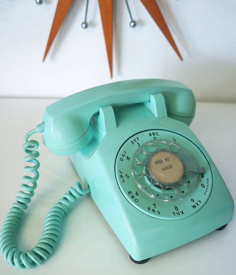 1950/60s Aqua Telephone with Chandler AZ number