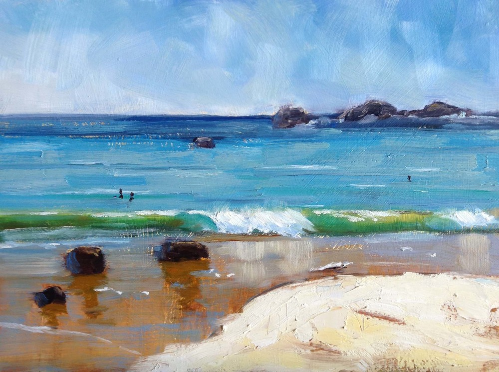 """Beach 3"" oil on board 30 x 40cm"