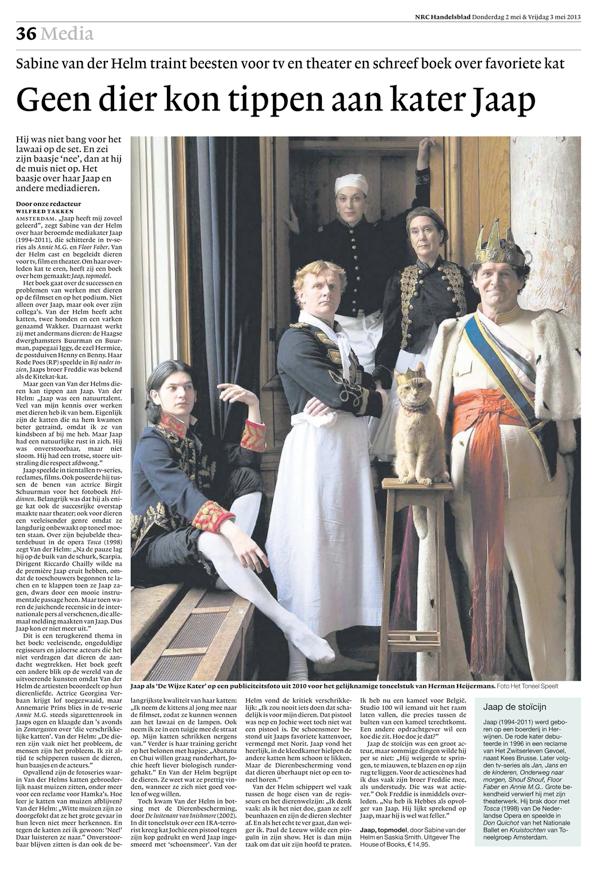 Jaap als 'De Wijze Kater' op een publiciteitsfoto uit 2010 voor het gelijknamige toneelstuk van Herman Heijermans. Foto Het Toneel Speelt