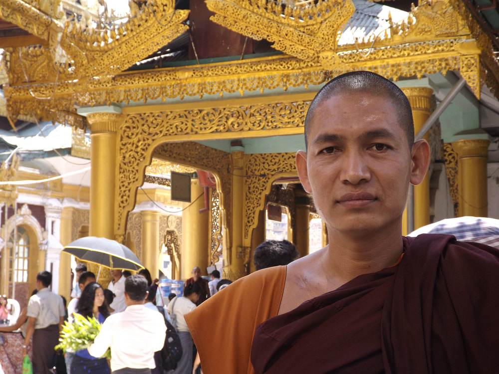 A friendly monk at Shwedagon Pagoda who was eager to talk U.S. foreign policy.