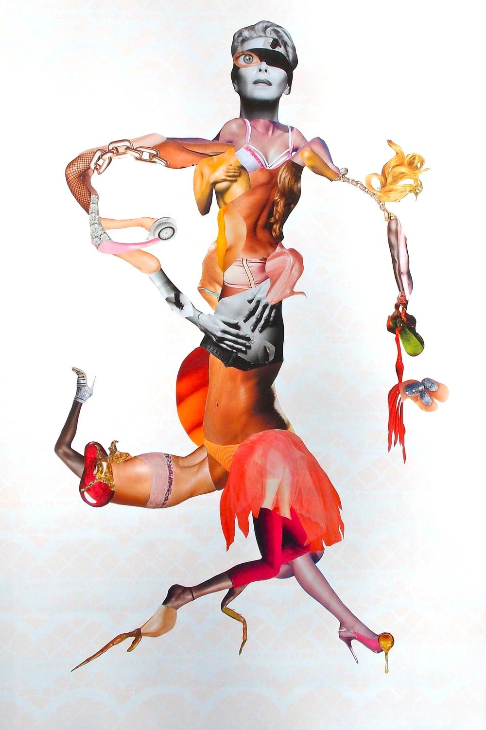"Blood Orange, Acrylic and collage on panel 2013, 40 x 24"""