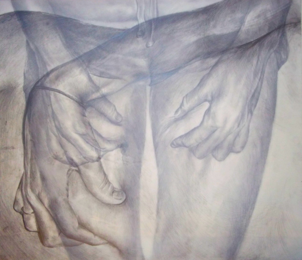 Grappling for a Sense of Control,  Pencil on Mylar, 2010, 18 x 24""
