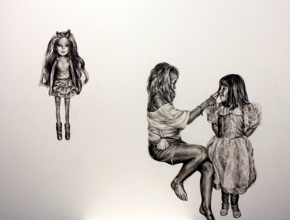 Dolls,  Pencil on Illustration Board, 2011, 30 x 40""