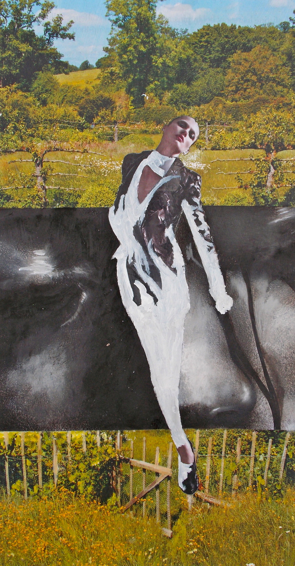 """Untitled, Oil and collage on panel, 2010, 8 x 14"""""""