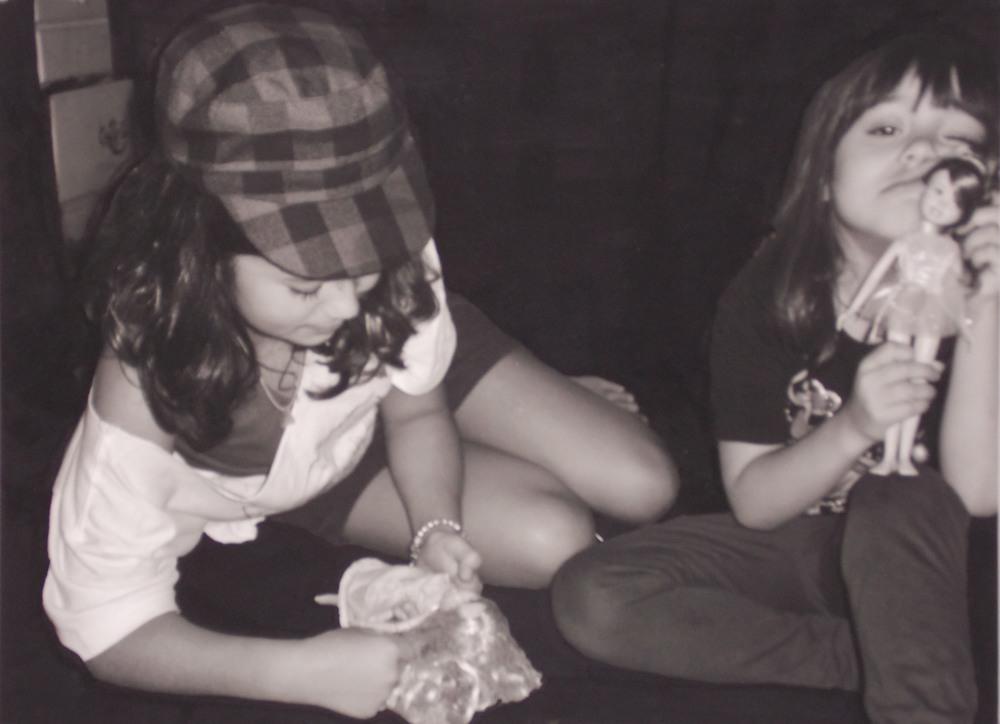"""Jillian and Gianna, Mixed Media, 2011, 8 x 10"""""""