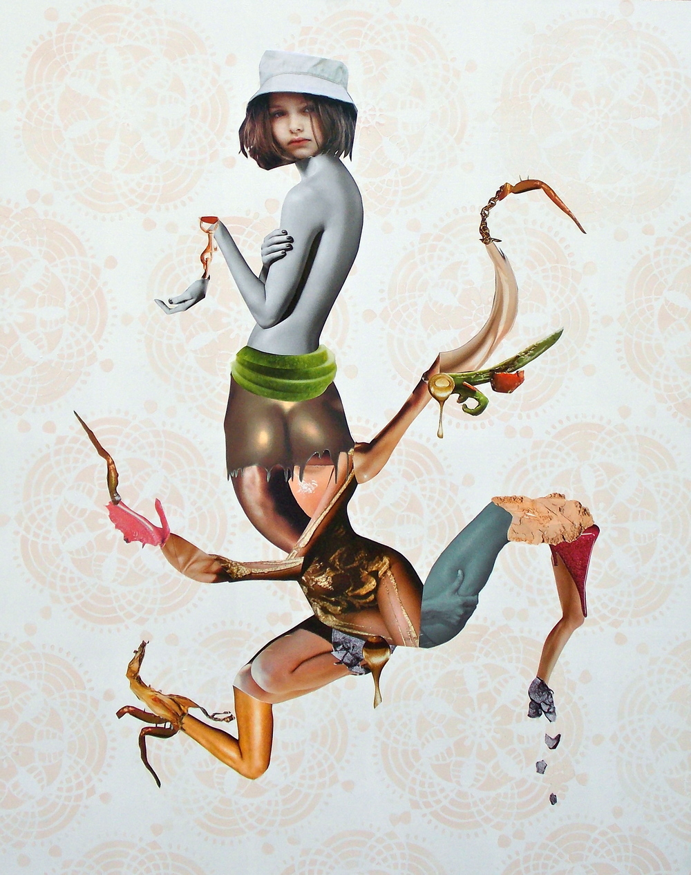 Characteristic Gestures 2,  Acrylic and collage on panel, 2013, 30 x 24""