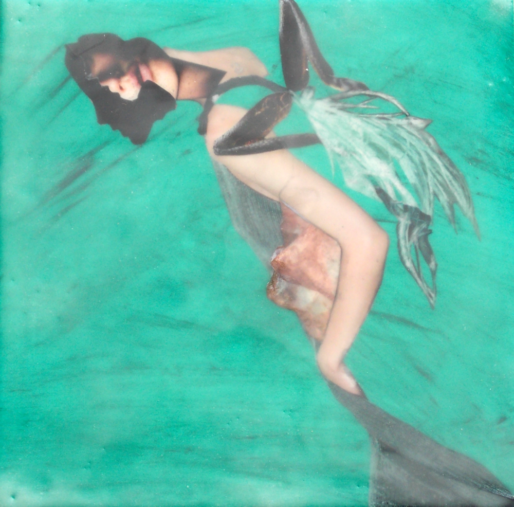 Submerged V, Encaustic collage on panel, 8 x 8""""