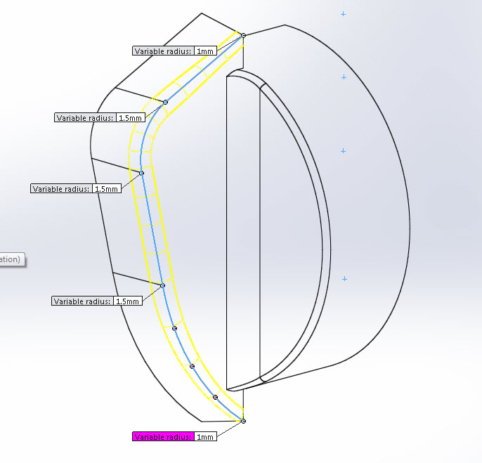 Variable Radial Fillet