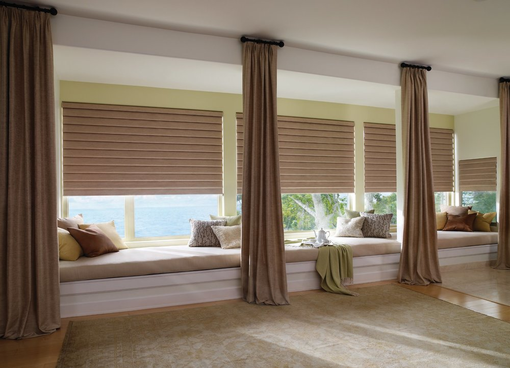 Window treatments decorlink for Bedroom bay window treatments