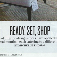Washingtonian, August 2014: Victoria at Home is featured as one of five designer-driven shops profiled in the home section.