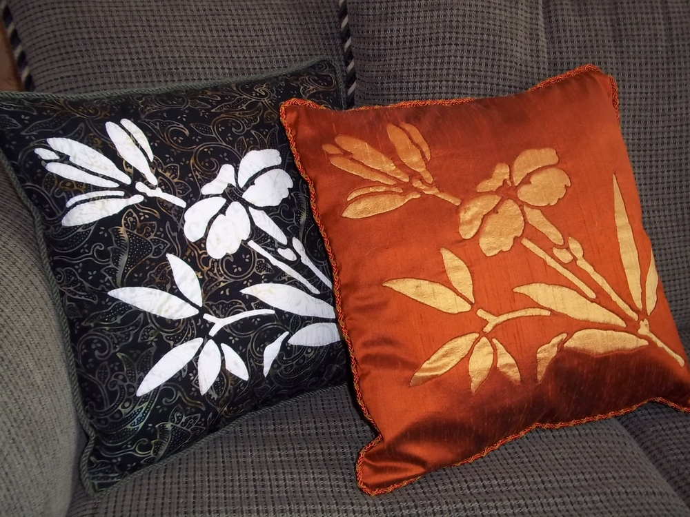 "Lily 16"" x 16"" Pillows. Batik on left, silk on right."