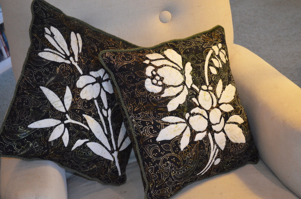 "Lily  and  Rose  16"" Pillows done in batiks"