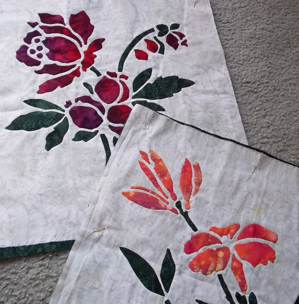 "Rose and Lily, 16"" x 16"". Blocks 1 and 2 of 9 for Victorian Flower Garden Quilt."