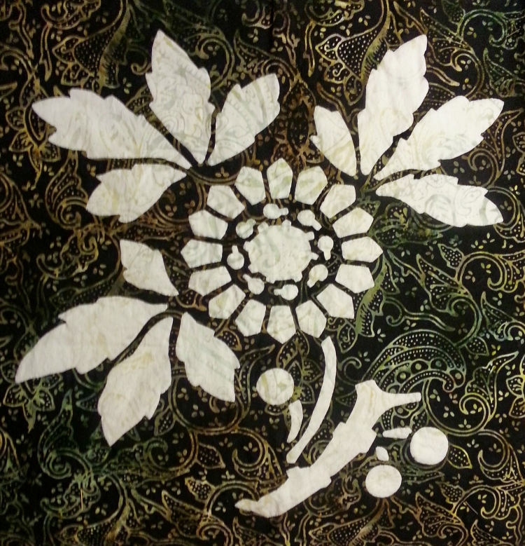Sunflower, reverse applique, batik