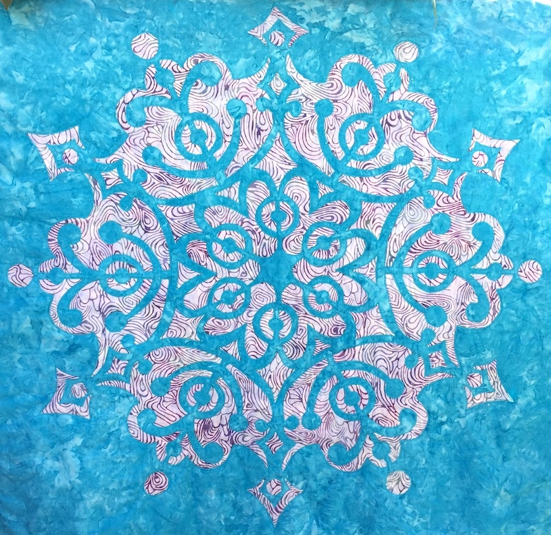 "Frozen Wonder , 30"" x 30"", machine appli-quilted."