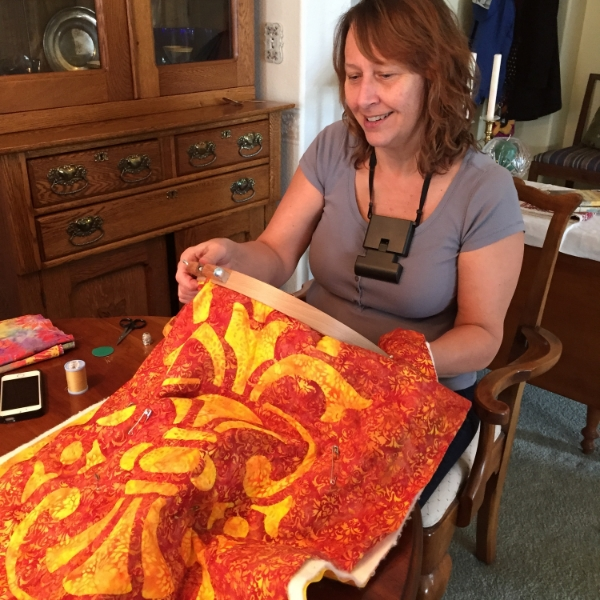 EOB Elf Shari hand quilting.