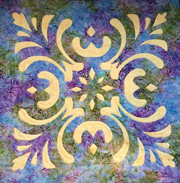 "Majesty, Medallion IX (36"" x 36""). can be made by hand or machine.  Hand will be taught at Applique Away on Galveston Bay."