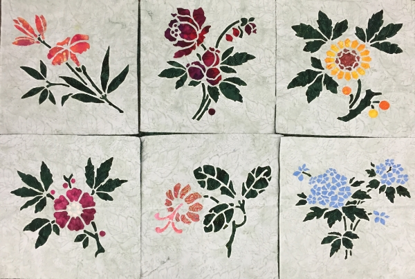 "Our    Victorian Flower Garden Quilt    is starting to bloom with 6 of 9 16"" x 16"" blocks-  Lily, Rose, Sunflower, Apple Blossom, Trumpet Vine & Forget-Me-Not  ."