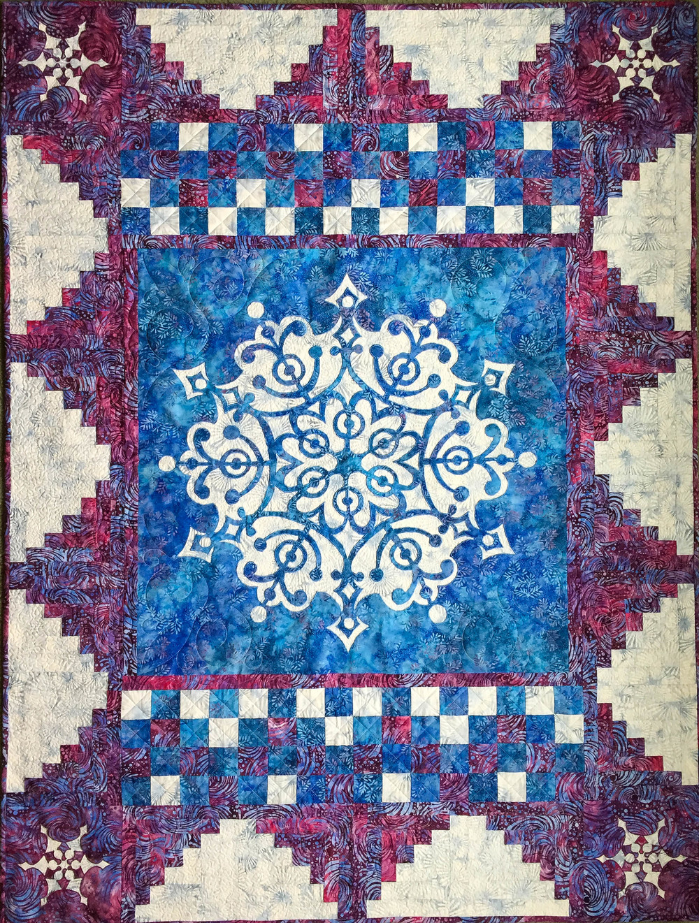 Frosty Frozen Wonder Quilt. Made with  Frozen Wonder Medallion VIII and Frosty Quilt Expansion pattern.