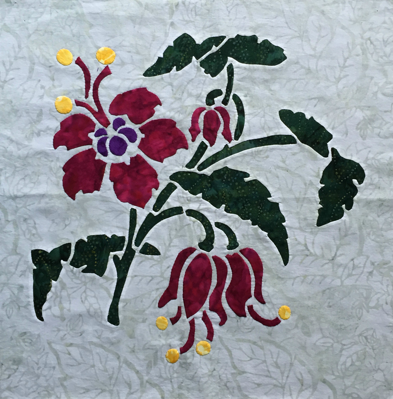 "Fuchsia, 8 of 9  , (16"" x 16""). 3 color option, reverse applique stems and leaves, blossoms appliqued.   Victorian Flower Garden"