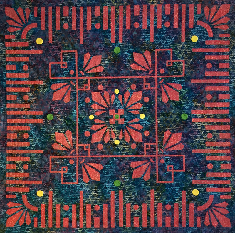 "Desert Blooms, Medallion XI. 36"" x 36"", hand reverse applique."