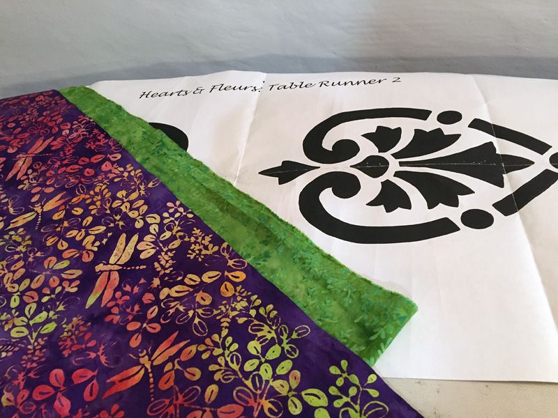 Hearts & Fleurs pattern with purple and green from Coral Reef collection by Island Batik.