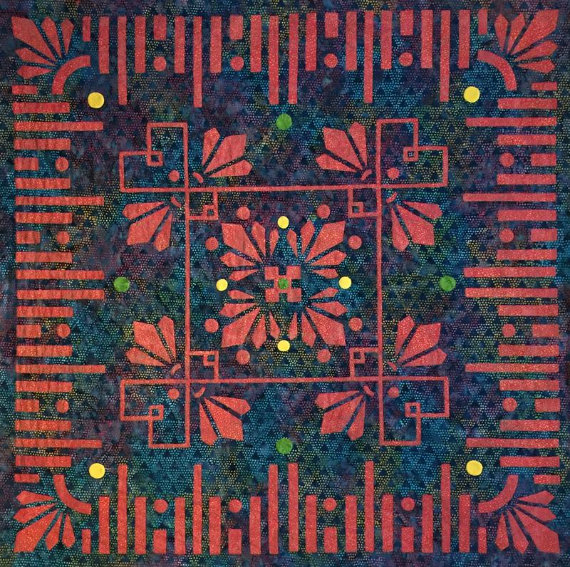 "Desert Blooms, Medallion XI, 36"" x 36""."