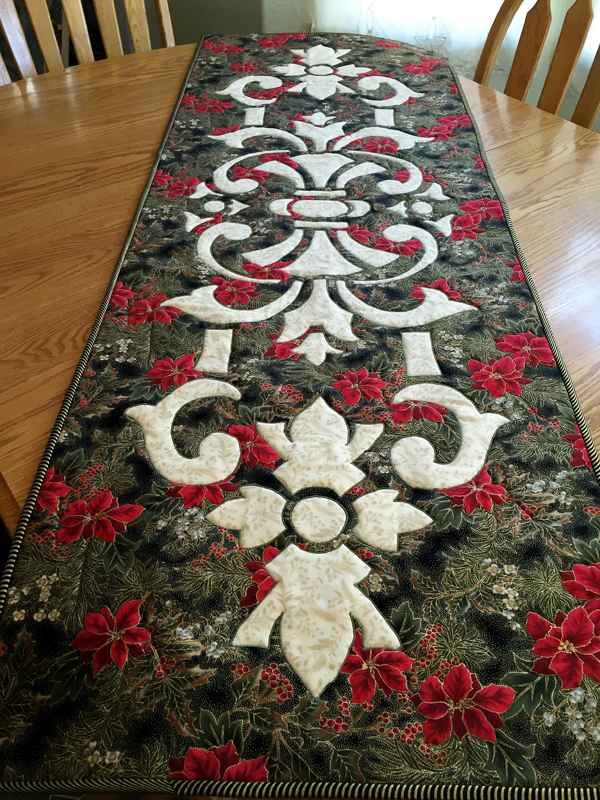 Marrakesh, table runner decked out for the holidays.  Get kit at Sew Downtown.