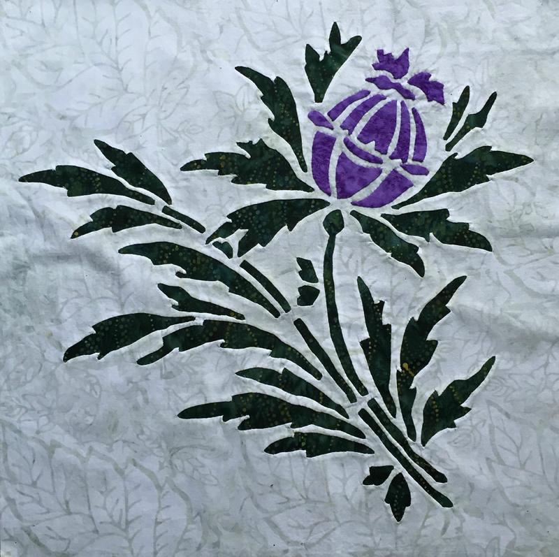 "Thistle (16"" x 16""). Reverse applique stems and leaves with Applique blossoms."